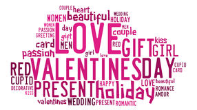 Valentines day concept in word tag cloud Stock Image