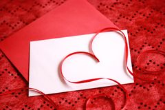 Valentines Day concepts. Red heart shape on a blank card, Valentines Day concepts Stock Photos
