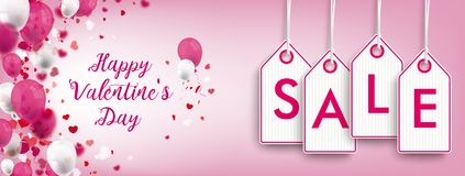 Valentines Day Confetti Hearts Header Price Stickers Sale. Valentines day header with price stickers on the pink background with ornaments Stock Photos