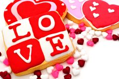 Valentines Day cookies. Group of Valentines Day cookies and candy Royalty Free Stock Photos