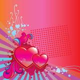 Valentines Day corner background. With two hearts, doodles, swirls, drops and stripes Stock Images