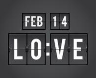 Valentines Day Countdown flip timer. Analog mechanical countdown flip clock panel for Valentines Day stock illustration