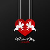 Valentines Day Couple On Heart Background vector illustration