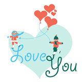 Valentines Day Couple Vector Card Royalty Free Stock Photo