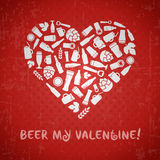 Valentines day craft beer poster. Beer my valentine tagline. White heart composed of craft beer bottles, beer mugs, glasses, beer ingredients and accessories vector illustration