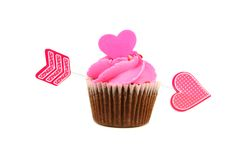 Valentines Day cupcake with Cupid's arrow Royalty Free Stock Photos