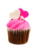 Valentines Day cupcake with heart toppers Royalty Free Stock Image
