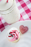 Valentines Day Cupcake With Kiss Sign Stock Photo