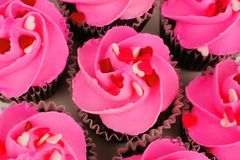 Valentines Day cupcakes above view Stock Photo