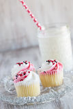 Valentines Day Cupcakes and Glass of Milk Royalty Free Stock Photo