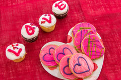 Valentines Day - cupcakes spelling LOVE Royalty Free Stock Photo