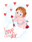 Valentines Day cupid angel vector illustration Stock Photography