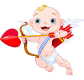 Valentines Day Cupid. Ready to shoot his arrow stock illustration