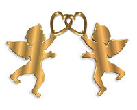 Valentines Day cupids and hearts. 3D illustration for Valentines Day or wedding invitation, card or background with 2 angels holding linked golden hearts with Royalty Free Stock Image