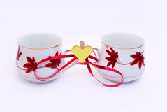 Valentines day cups Royalty Free Stock Images