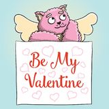 Valentines Day. Cute Cupid Pink Cat with Be My Valentine Poster Royalty Free Stock Image