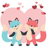 Valentines day cute foxes in love holding hands. Cute vector illustration of a couple of foxes holding hands in love. All elements are grouped together logically royalty free illustration