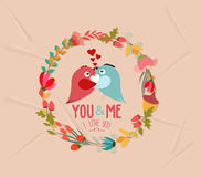 valentines day cute retro flowers wreath and bird Stock Photography
