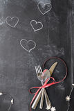 Valentines Day Cutlery over Blackboard Stock Photography