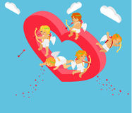 Valentines Day 3d Isometric Angels with Bow Royalty Free Stock Photography