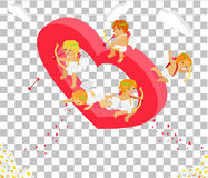 Valentines Day 3d Isometric Angels with Bow Royalty Free Stock Photo