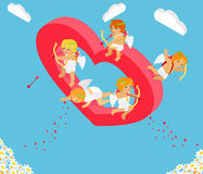 Valentines Day 3d Isometric Angels with Bow Stock Photography