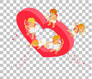 Valentines Day 3d Isometric Angels with Bow Stock Images
