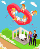 Valentines Day 3d Isometric Angels with Bow Royalty Free Stock Images