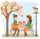 Valentines` day Date. Romantic couple sitting on a bench and giving each other gifts vector illustration