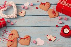 Valentines day decoration on old  background Stock Photos