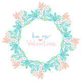Valentines day decoration. Cute floral frame in vector. Creative flowers background in pastel color Royalty Free Stock Images