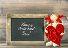 Valentines Day decoration. Funny girl with Red Heart and blackbo Stock Photography
