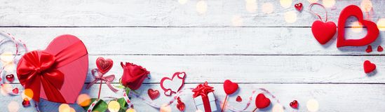 Valentines Day Decoration With Gift stock image
