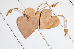 Valentines Day Decoration. Hearts On Wooden Background Royalty Free Stock Photography