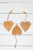 Valentines Day Decoration. Hearts On Wooden Background Royalty Free Stock Images