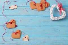 Valentines day decoration on old  background Royalty Free Stock Image