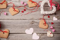 Valentines day decoration on old  background Royalty Free Stock Photos