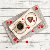 Valentines Day decoration red hearts Romantic breakfast coffee Stock Photo