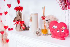 Valentines Day Decorations on Fireplace Mantle Stock Image