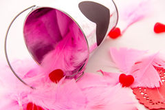 Valentines Day - decorations, pink feathers and heart shaped can Royalty Free Stock Photography