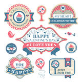 Valentines day decorative labels Stock Photography