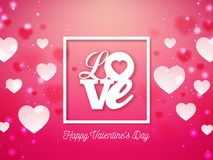 Valentines Day Design with Heart and Love Typography Letter on Shiny Red Background. Vector Wedding and Romantic Theme. Illustration for Holiday Greeting Card Royalty Free Stock Photos