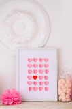 Valentines day design with hearts in frame Royalty Free Stock Photos