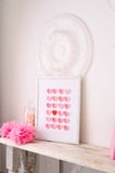 Valentines day design with hearts in frame Royalty Free Stock Images