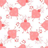 Valentines day design with hearts. Seamless sketched heart pattern. Abstract Valentine background. Valentines day design with hearts. Seamless sketched, heart stock illustration