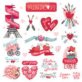 Valentines day design,labels, icons elements. Valentines day design,labels,vintage elements,icons collection.Hand drawing doodle vector.Love romantic,heart decor Royalty Free Stock Photos