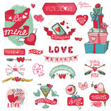 Valentines day design,labels, icons elements. Valentines day design,labels,vintage elements,icons collection.Hand drawing doodle vector.Love romantic,heart decor Stock Photos