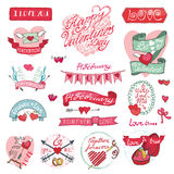 Valentines day design,labels, icons elements. Valentines day design,labels,vintage elements,icons collection.Hand drawing doodle vector.Love,romantic,heart decor Stock Photo