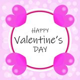 Valentines day design with pink hearts stock illustration