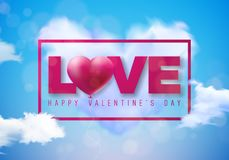 Valentines Day Design with Red Heart Balloon and Love Typography Letter on Cloud and Blue Sky Background. Vector Wedding. And Romantic Theme Illustration for Stock Photography